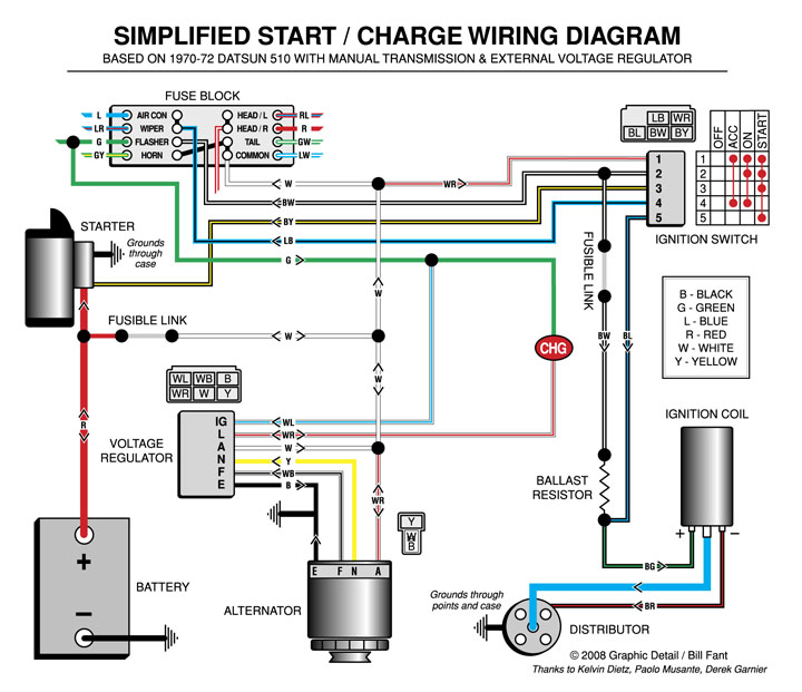 Wiring diagram for a 4 wire alternator
