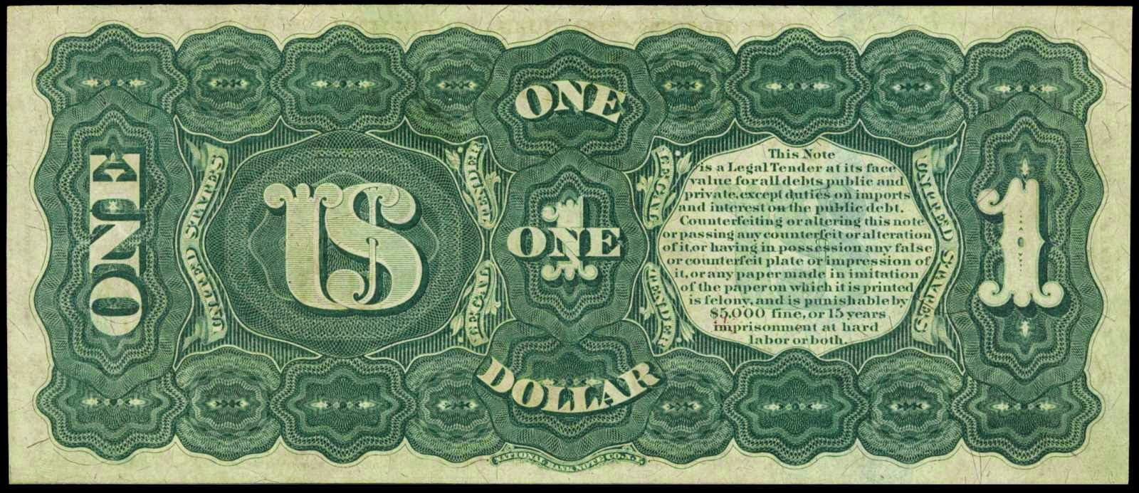 1869 One Dollar Legal Tender Rainbow Notes World