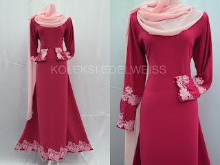 Jubah Muslimah Moden Online  Warna Pink Lembut