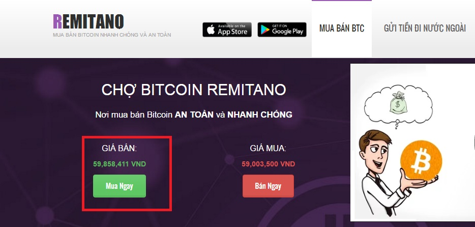 Mua bitcoin o remitano