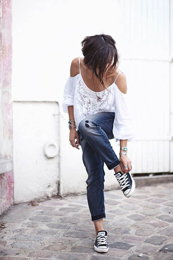 summer casual look, converse, denim and white off the shoulder shirt