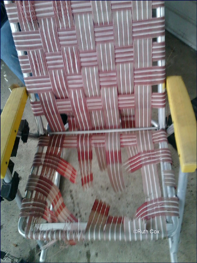 Abitosunshine labor of love lawn chair re webbing diy for Lawn chair webbing