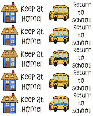Keep at Home Labels and Return to School labels for Take Home Folders