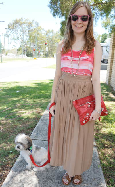 australian summer outfit blogger stripe tank pleated maxi skirt