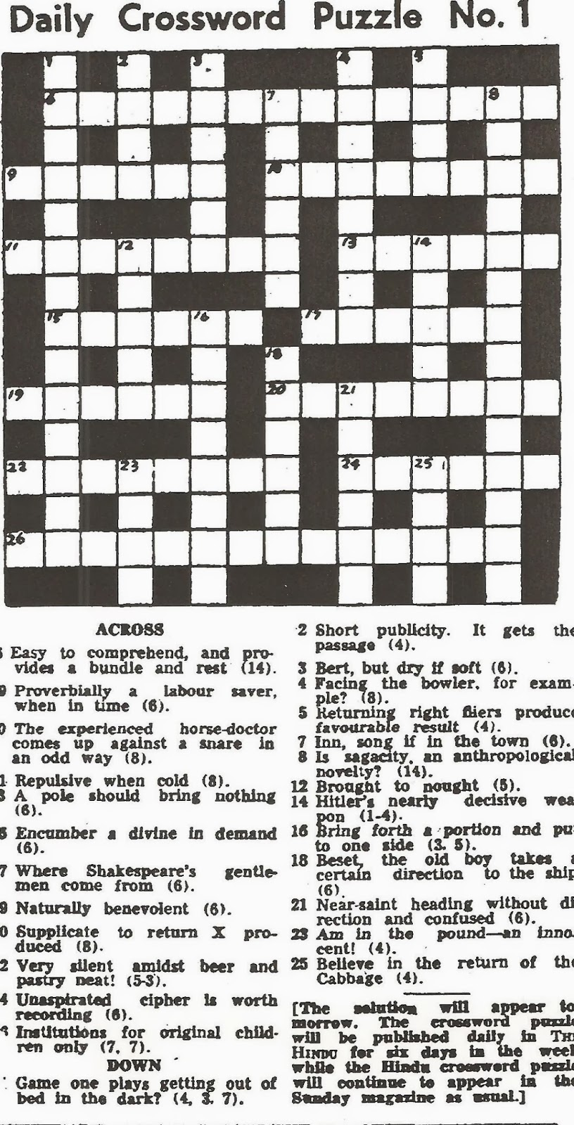 Special Daily Crossword Puzzle No 1 Now THC 15 Feb 1971