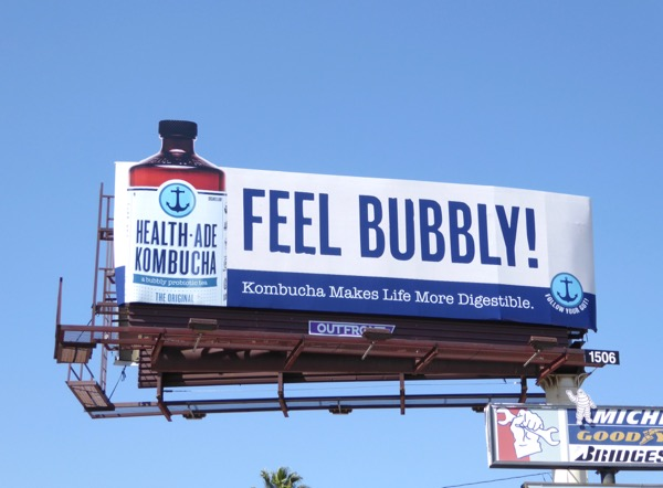 Healthade Kombucha Feel bubbly billboard