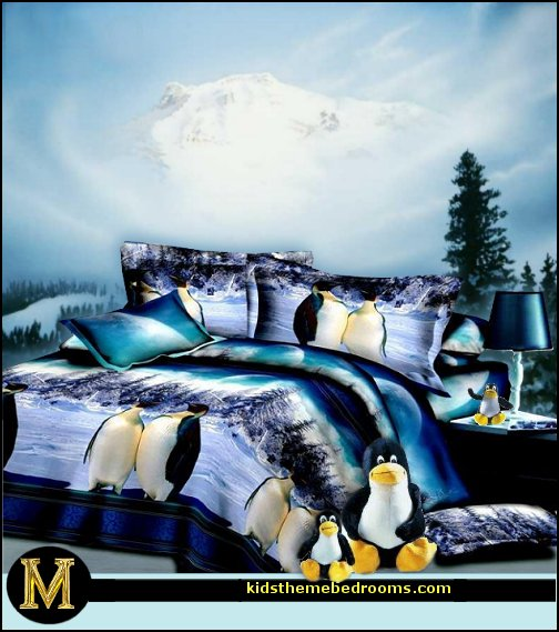 penguin bedrooms - polar bear bedrooms - arctic theme bedrooms - winter wonderland theme bedrooms - snow theme decorating ideas - penguin duvet covers - penguin bedding - winter wonderland party ideas - Christmas