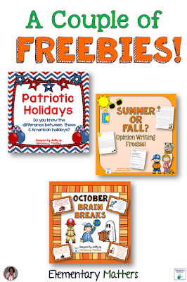 A Couple of Freebies: This post contains 3 freebies that can be used for Constitution Day, the autumnal equinox, and the month of October.