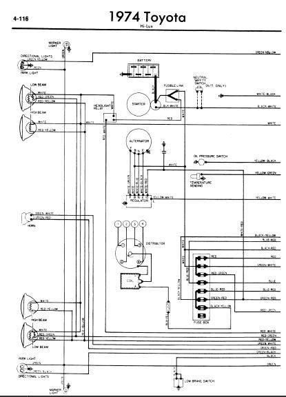 repairmanuals: Toyota Hilux 1974 Wiring Diagram