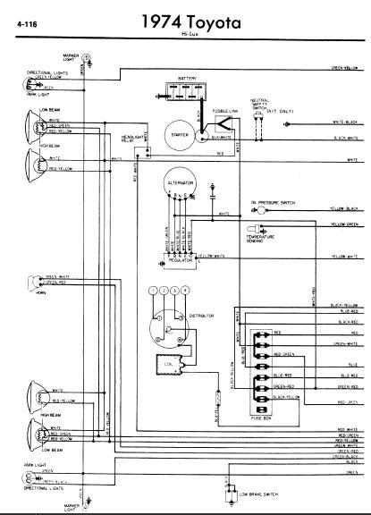 repairmanuals: Toyota Hilux 1974 Wiring Diagram