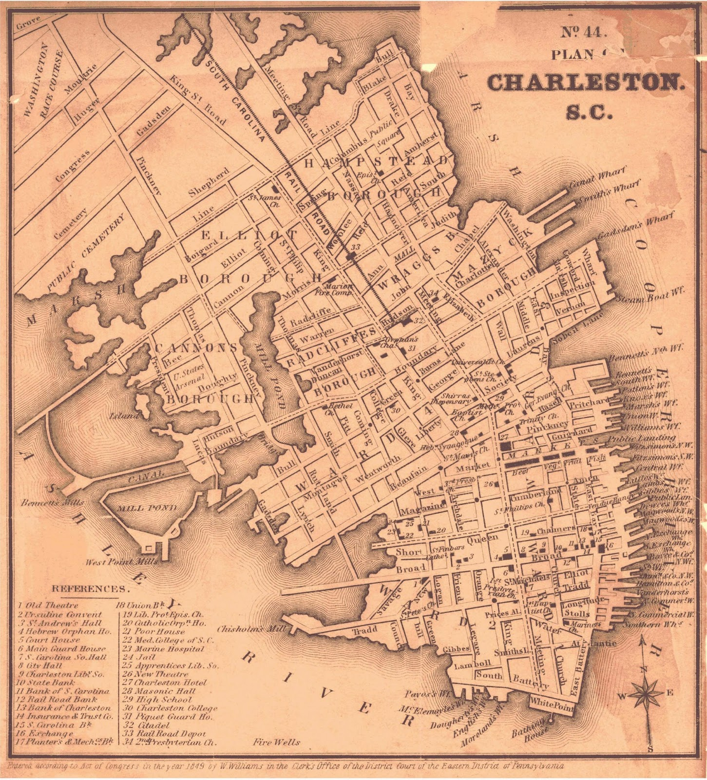 Map of Charleston 1849