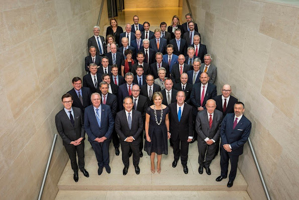 Queen Maxima attended Advocate for Inclusive Finance for Development (UNSGSA) Amsterdam meeting shortly after MS koninginnedag naming and baptism ceremony in Rotterdam harbour, Queen Maxima Natan dress, spring summer fashions new dress