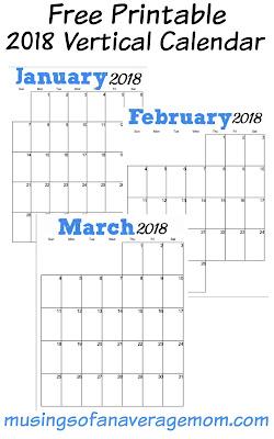 free printable 2018 vertical calendar