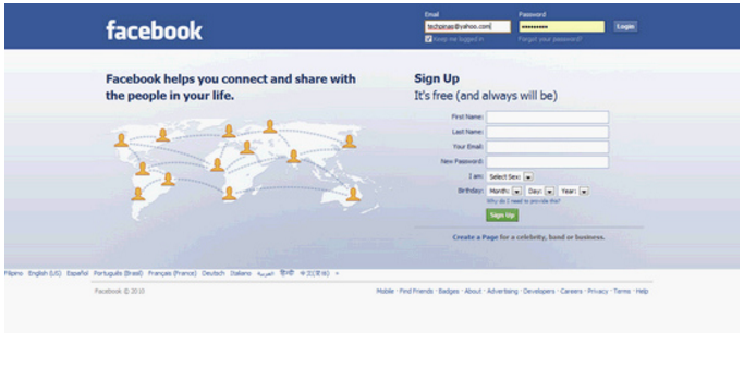 Facebook Log-in Page 2010