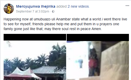Photos/ Video: Tears, anguish as five members of a family who perished in accident are buried in Anambra State