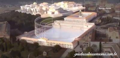 Reconstrução lago da Domus Aurea em reção ao Coliseu, guia brasileira em Roma