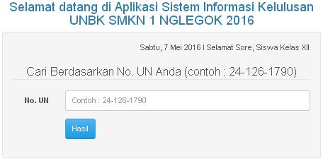Aplikasi Sistem Informasi Kelulusan UNBK SMKN 1 NGLEGOK 2016