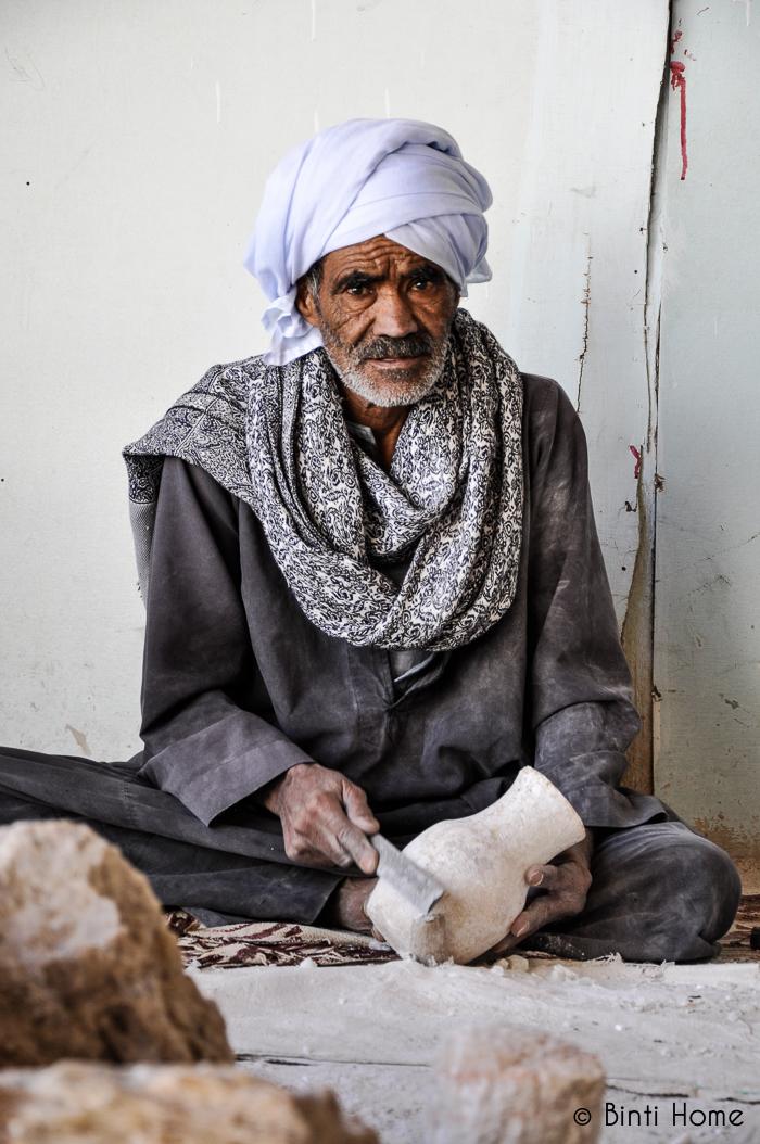 Egyptian man making alabaster vase - binti home