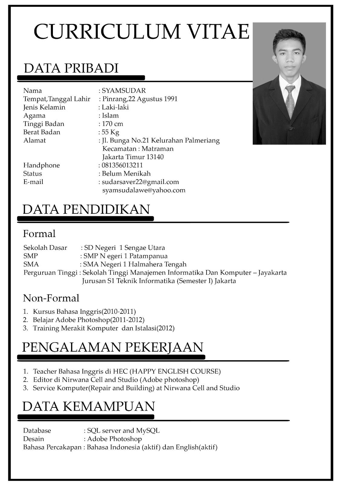 Download Cv Template Word Bahasa Indonesia Professional Resumes