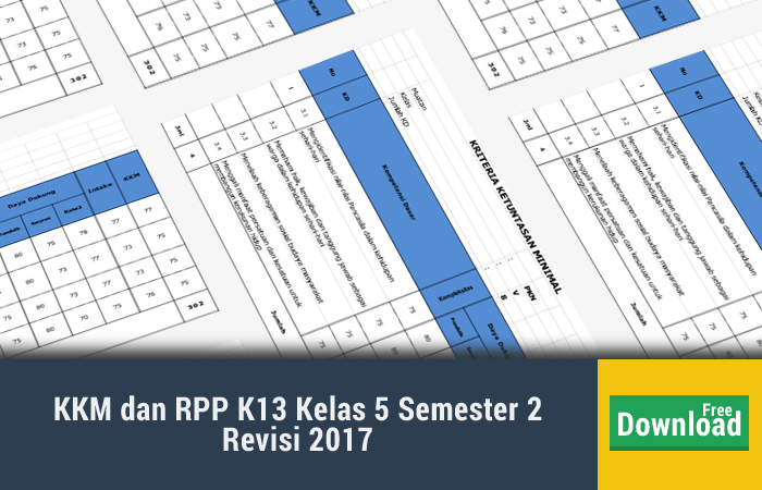 KKM dan RPP K13 Kelas 5 Semester 2 Revisi 2017