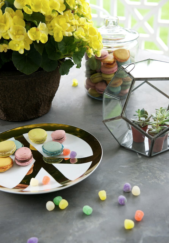 gold peace plate, glass terrarium, French macarons, macaroons,
