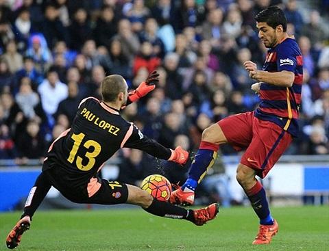 Cầu thủ Luis Suarez bất lực trước thủ thành của Espanyol
