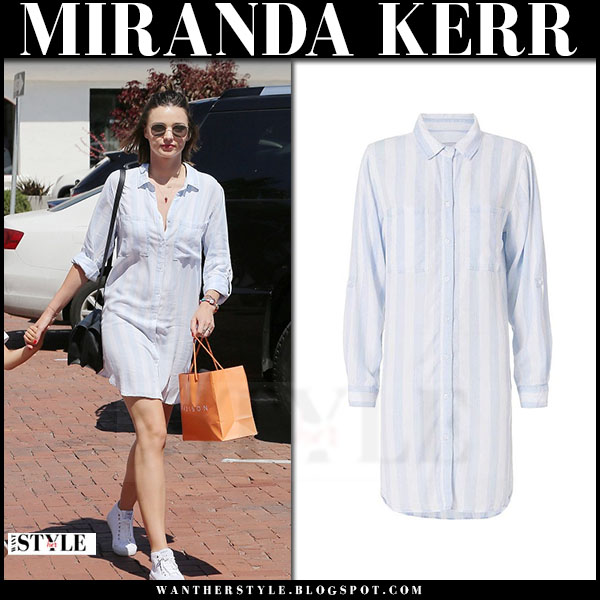 Miranda Kerr in striped rails alex shirt dress and white sneakers what she wore models off duty