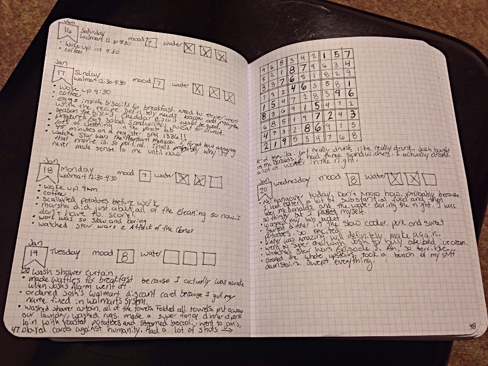 My Bullet Journal with a Sudoku Puzzle