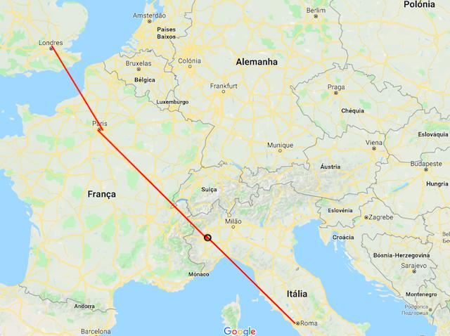 Mapa da viagem de trem de Londres a Roma