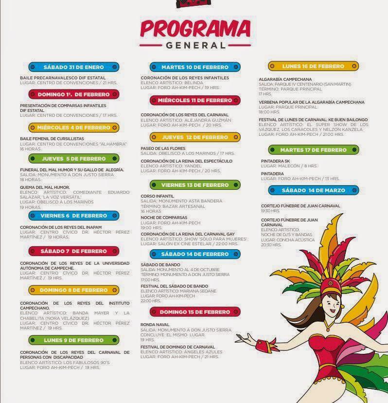 Carnaval Campeche 2015 programa