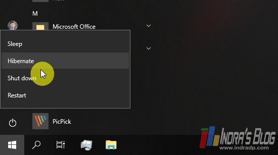 Hibernate di Windows 10