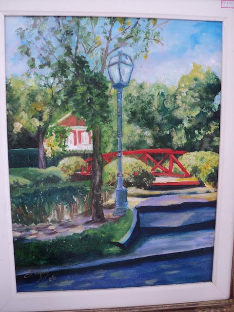 Paisagem, pontes, vermelho, pintura
