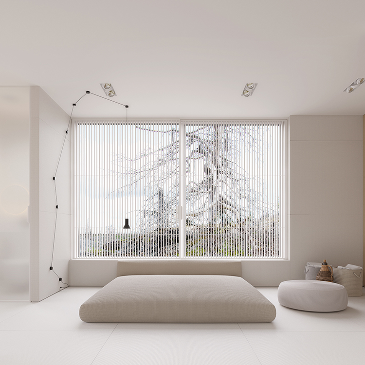Minimalist interior design is by Igor Sirotov