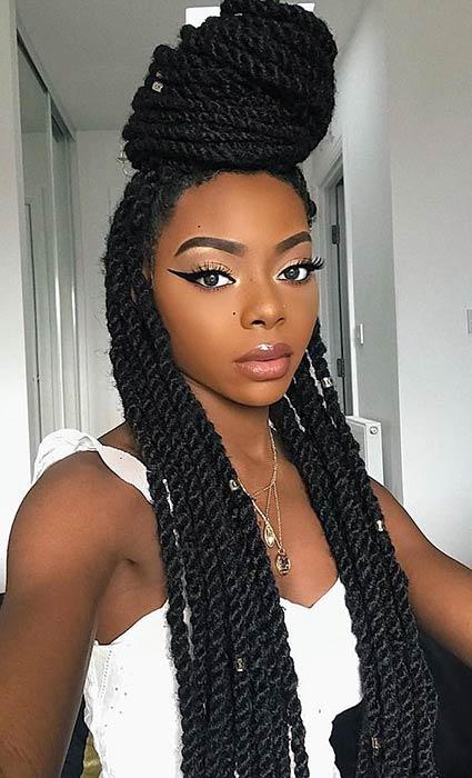 36 Latest Marley Twist Braids Hairstyles 2019 For Black