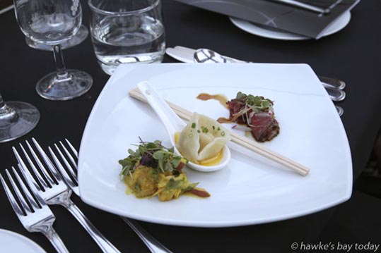 Tasting plate at the Hawke's Bay A&P Bayleys Wine Awards at the Hawke's Bay Showgrounds, Hastings.  photograph
