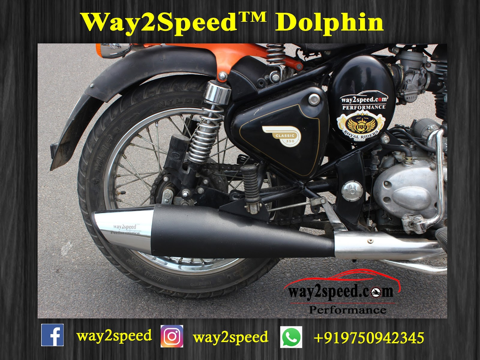 Royal Enfield Dolphin Silencer | Way2speed Performance | Dolphin silencer review | Dolphin silencer for thunderbird 350 | shark silencer royal enfield | Dolphin silencer price | Dolphin silencer sound | Dolphin silencer black | Dolphin exhaust review