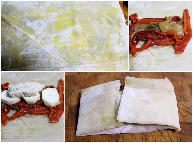 Paquetes De Pasta Filo Con Escalibada Y Queso