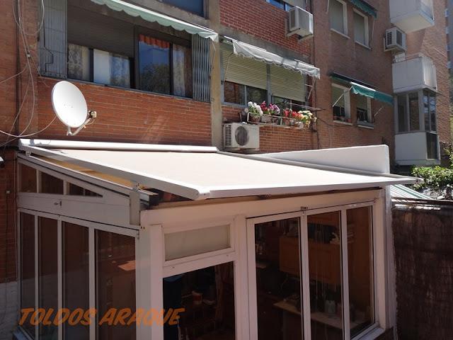 Empresa Toldos en Madrid toldos instaladores Araque Instalación de un toldo veranda en Hortaleza - Madrid. Trabajos realizados