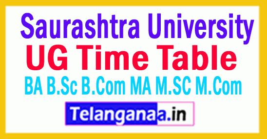 Saurashtra University Time Table 2018 BA B.Sc B.Com MA M.SC M.Com