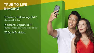 kamera depan 5 Megapiksel dengan beautification selfie Moto E3