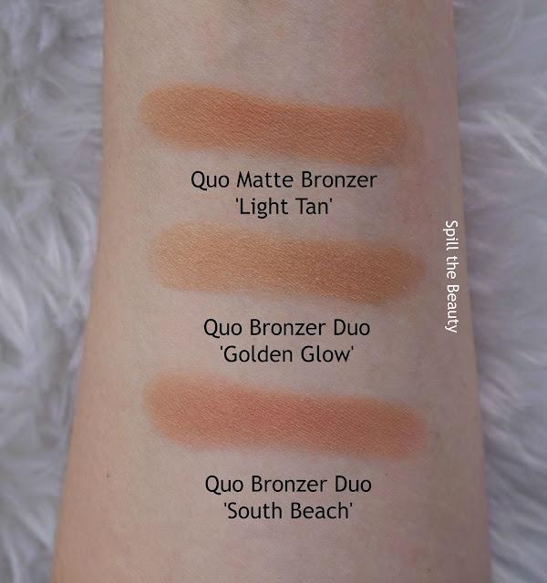 quo 2017 makeup review swatches quo bronzer duo south beach golden glow matte bronzer light tan