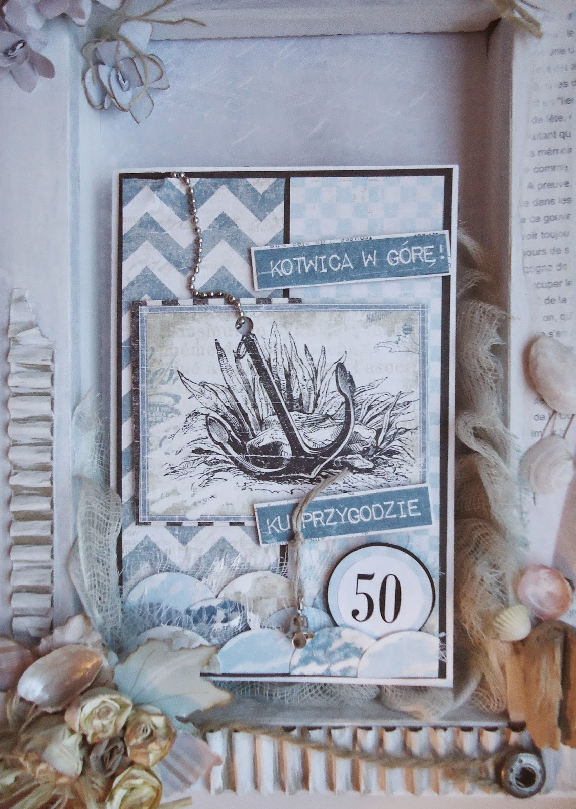 50-te urodziny, kotwica w górę, kartka ręcznie robiona