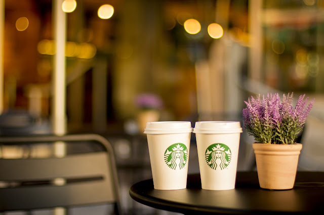 starbucks lavender plant outside coffee house patio