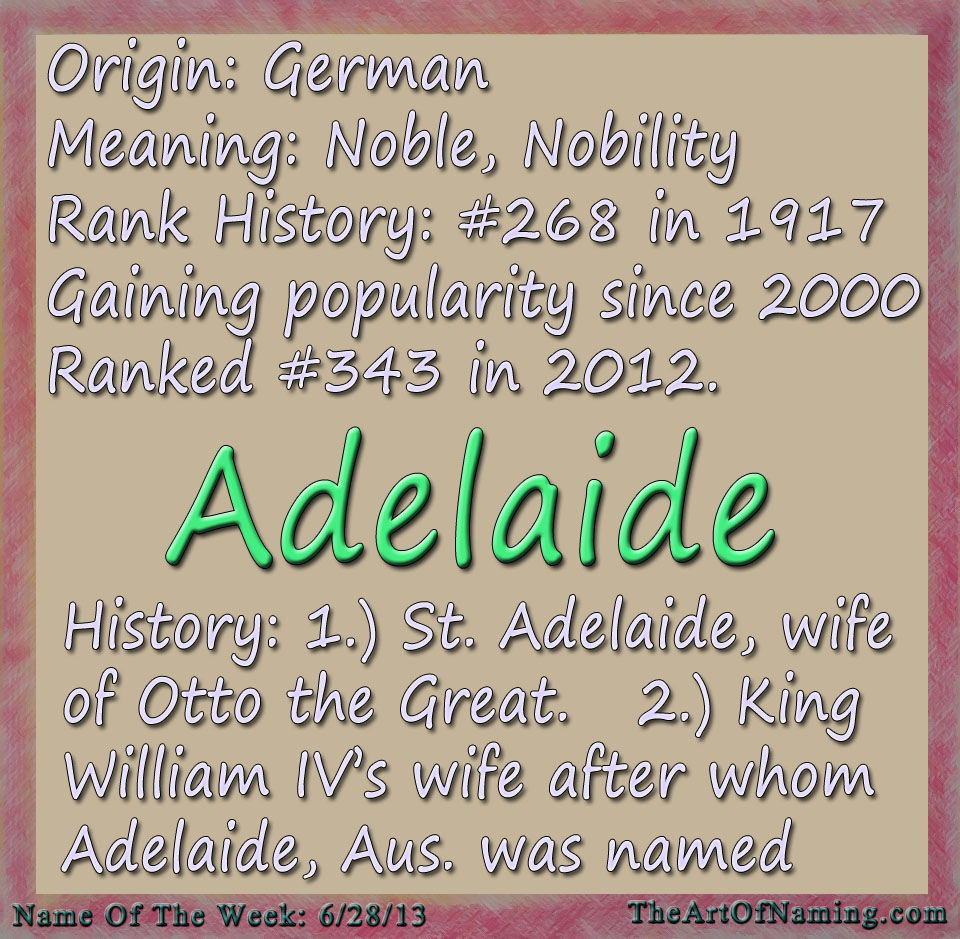 The Art of Naming: Girl Name of the Week: Adelaide