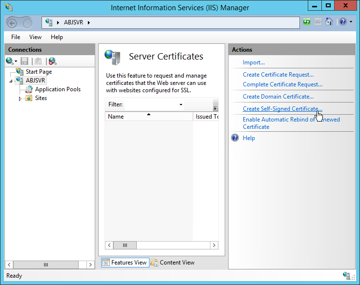how to create self-signed certificate sharepoint 2013