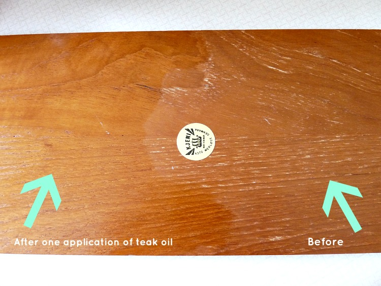 Teak oil application, before and after