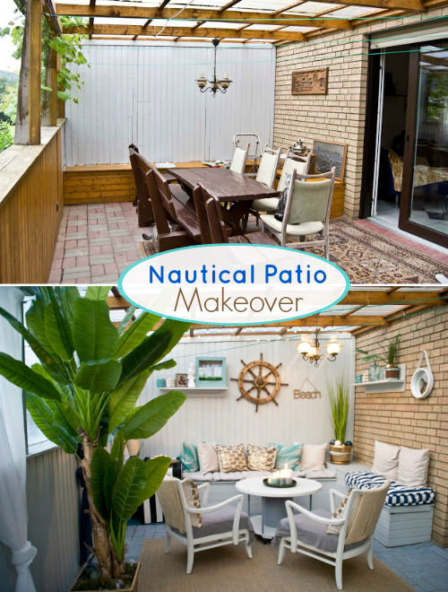Nautical Beach Patio Makeover | Before and After Pictures ... on Nautical Patio Ideas id=21213