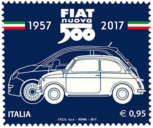 Fiat 500 Postal Stamp
