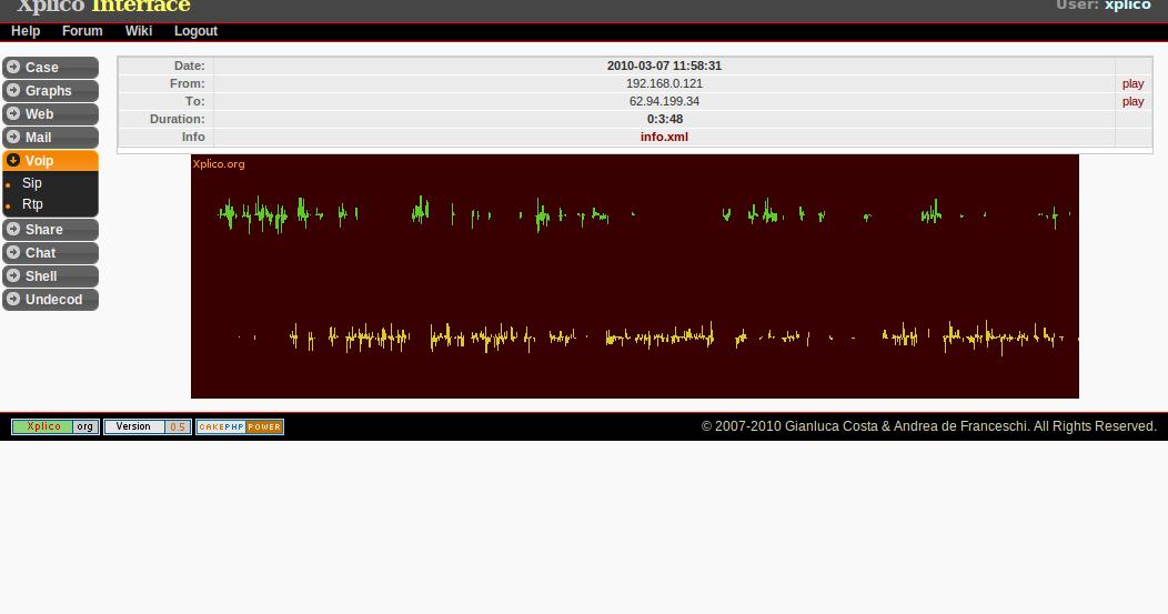 Xplico Internet Traffic Capture Tools Toolwar