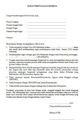 Contoh Surat Pernyataan Kinerja Bermaterai Contoh Surat Lengkap